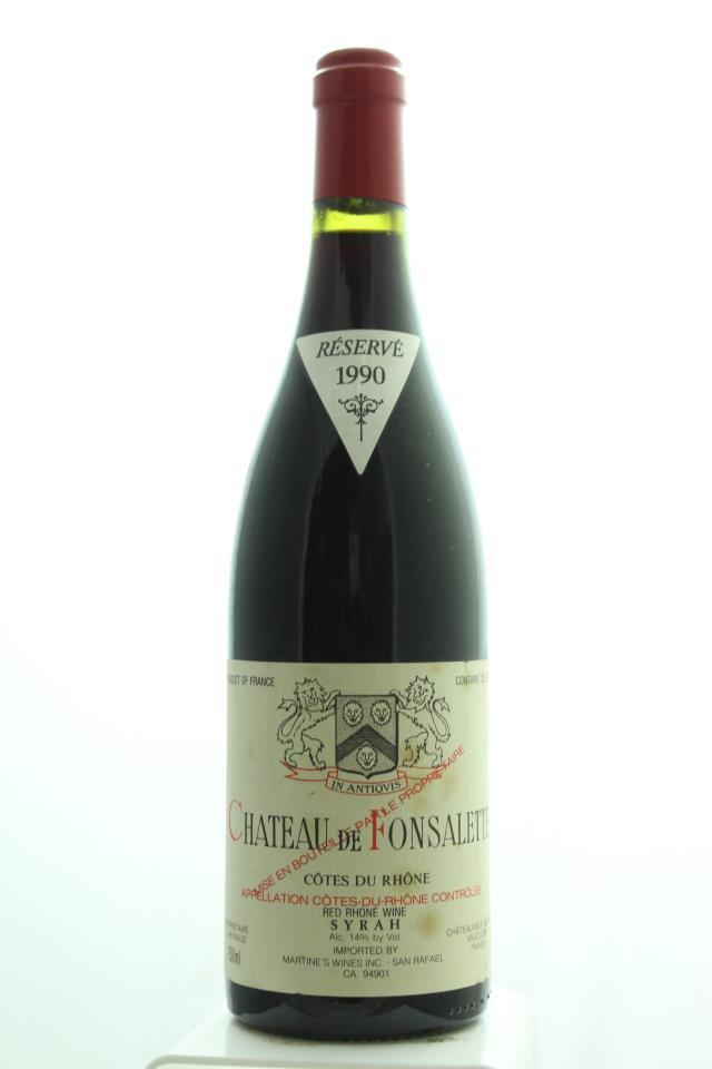 Château Rayas Côtes du Rhône Château de Fonsalette Réservé Cuvée Syrah 1990