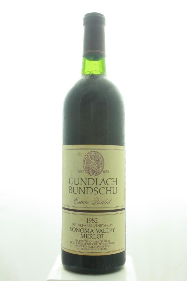 Gundlach Bundschu Merlot Estate Rhinefarm Vineyards 1982