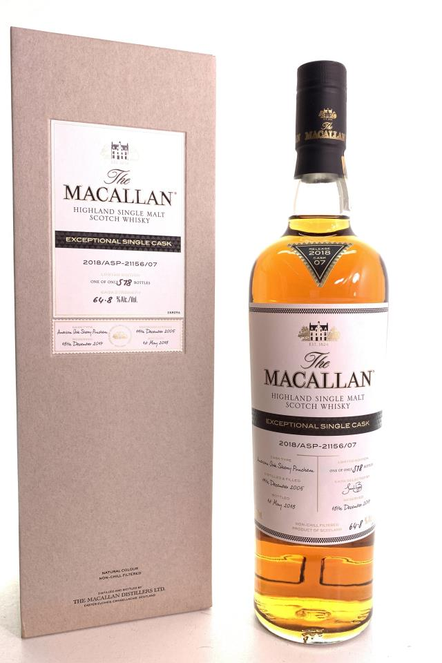 The Macallan Highland Single Malt Scotch Whisky Exceptional Single Cask 2018/ASP-21156/07 2018 Release