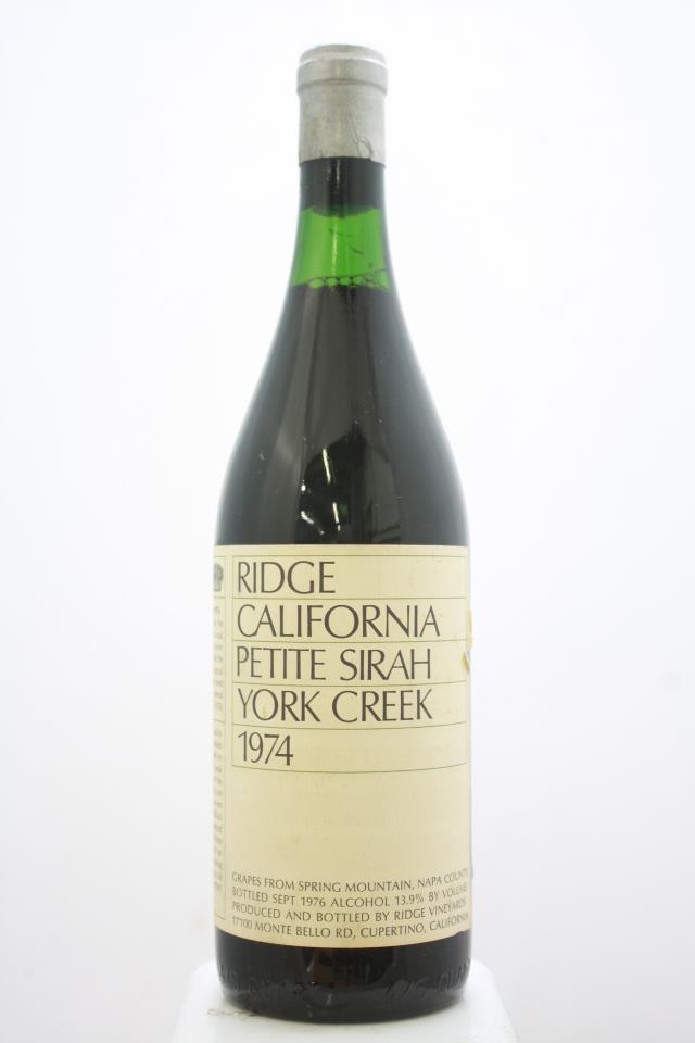 Ridge Vineyards Petite Sirah York Creek 1974
