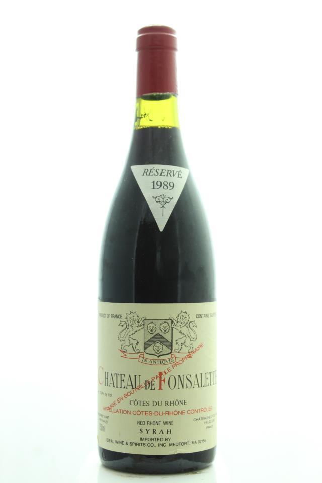 Château Rayas Côtes du Rhône Château de Fonsalette Réservé Cuvée Syrah 1989