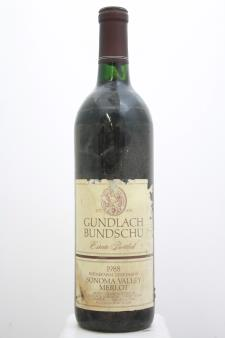 Gundlach Bundschu Merlot Estate Rhinefarm Vineyards 1988