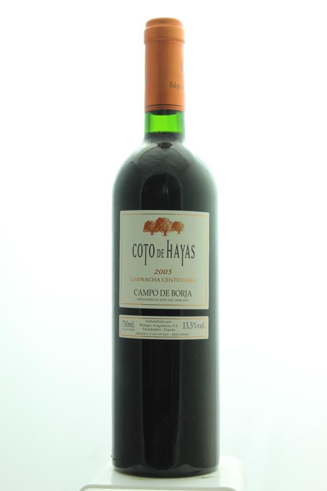 Bodegas Aragonesas Coto de Hayas Garnacha Centenaria 2003